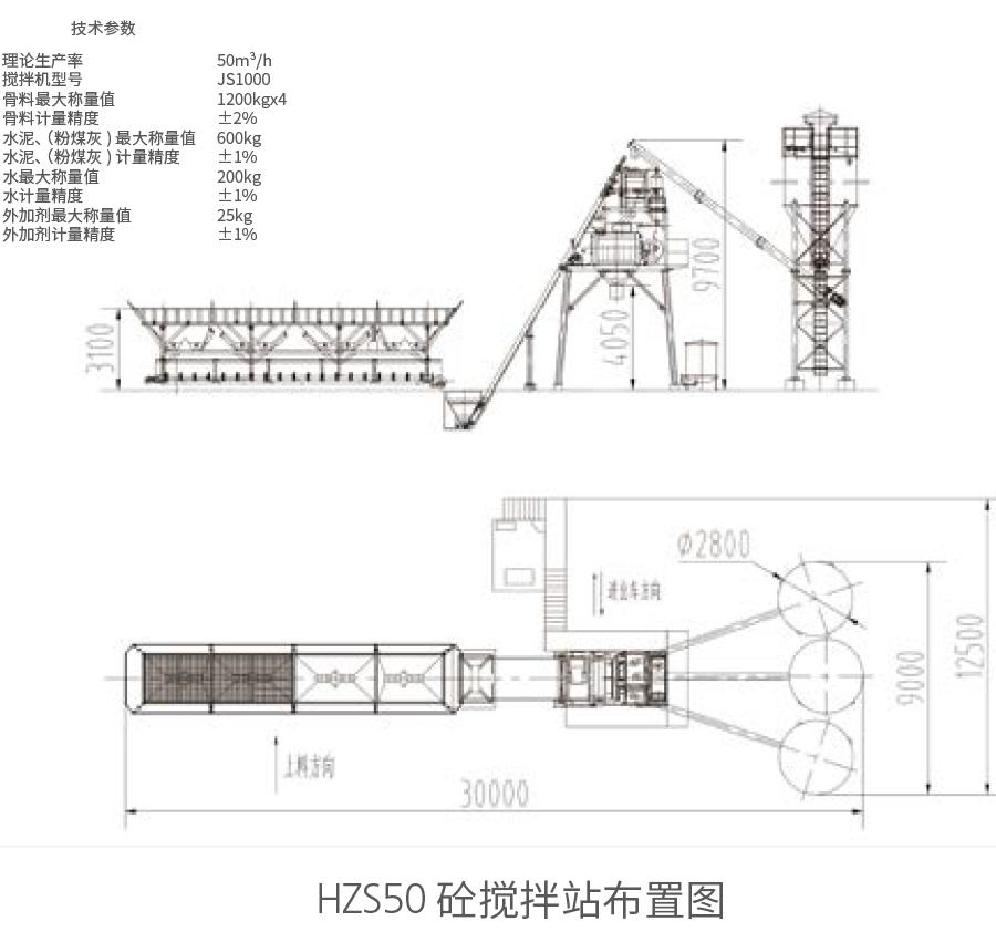 HZS50砼55直播吧手机版布置图