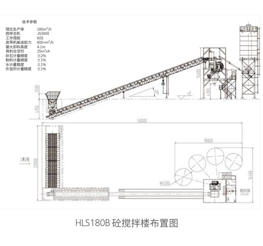HLS180B砼搅拌楼布置图