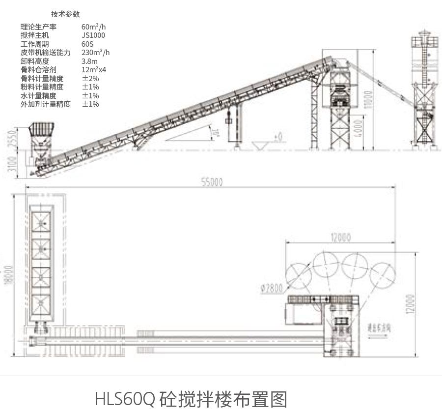 HLS60Q砼搅拌楼布置图